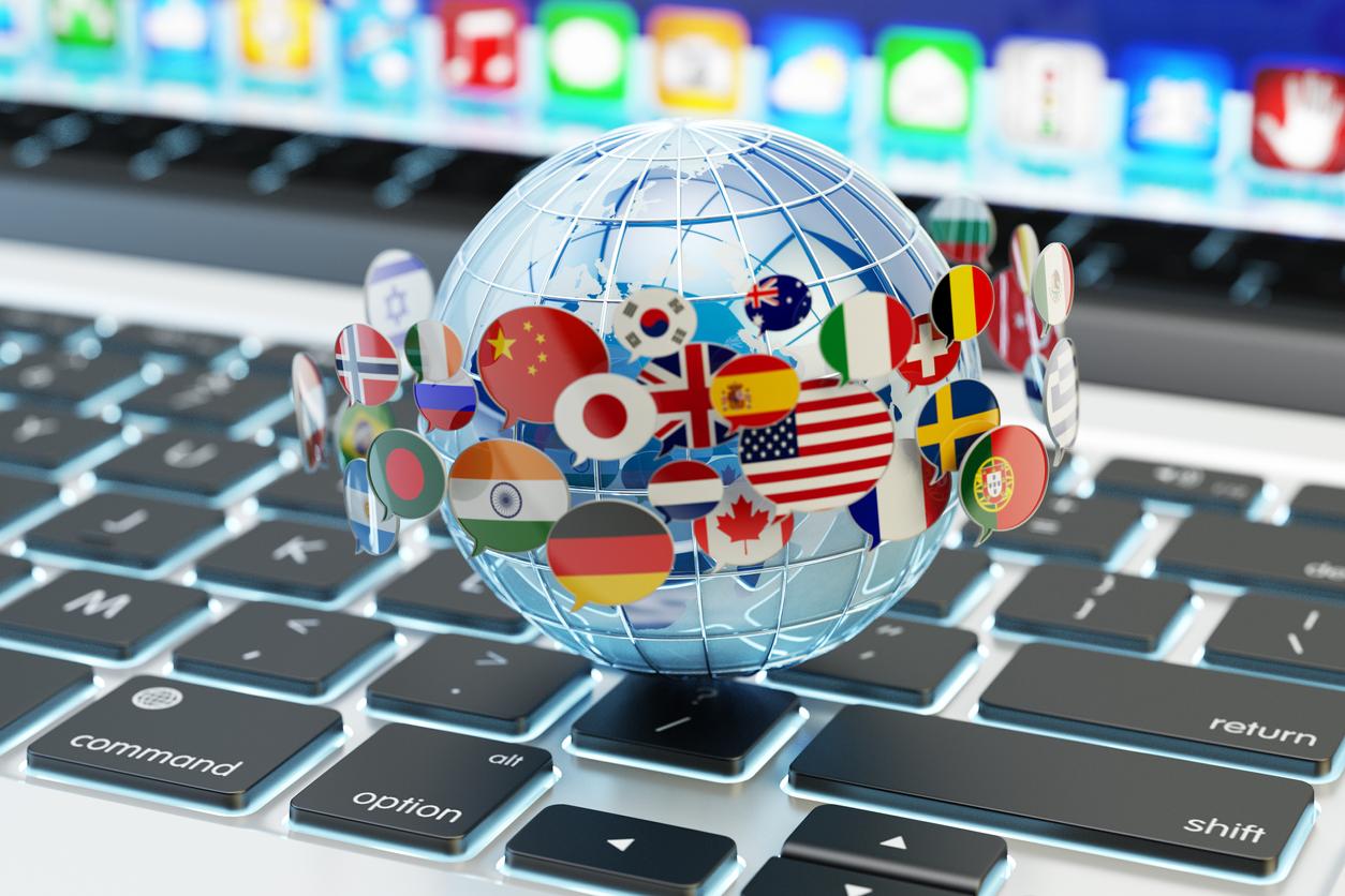 Global internet communication, online messaging and translation concept