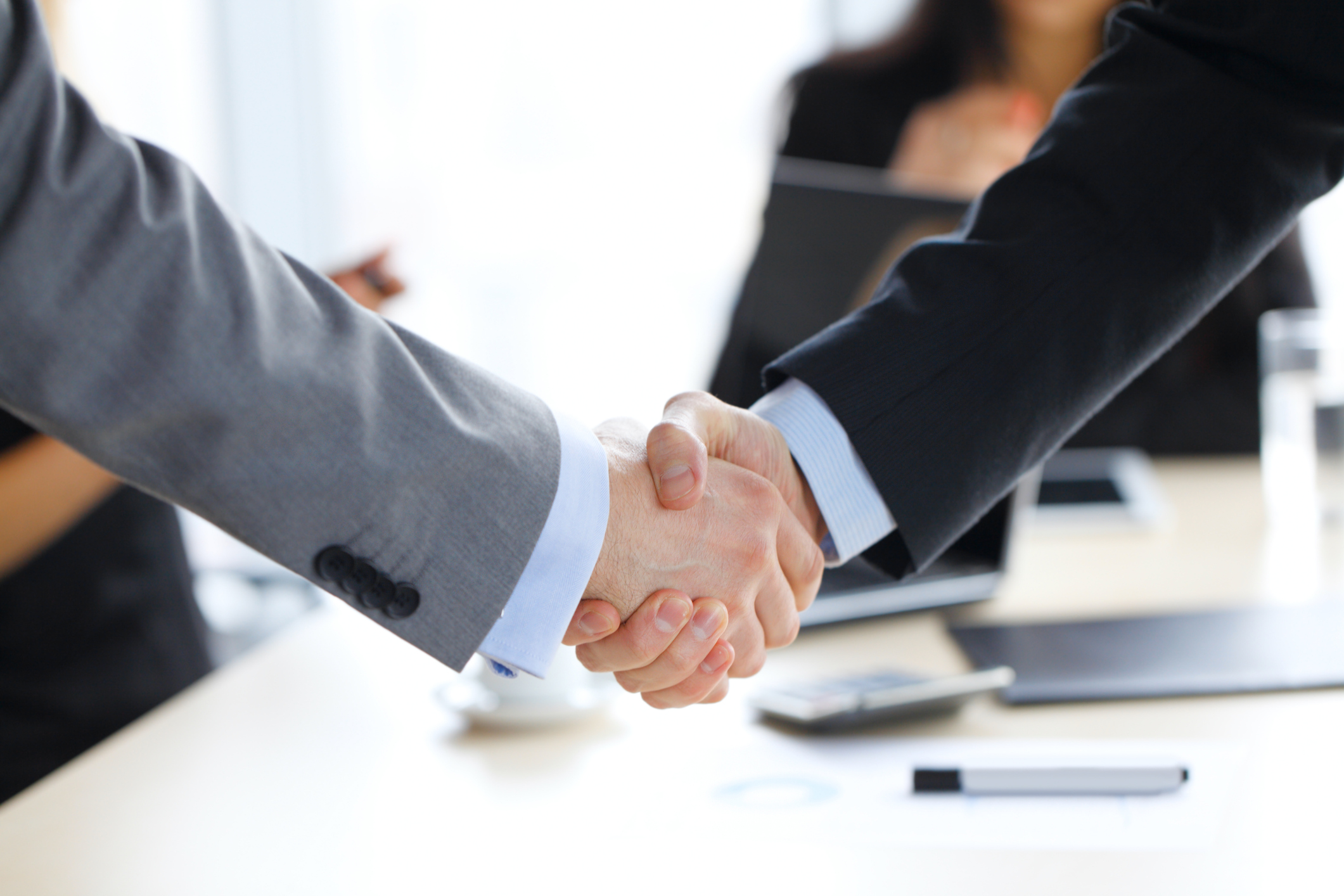 Business handshake at office , working team on background